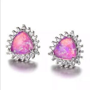 Jewelry - 3 For $18 Pink Fire Opal Stud Earrings